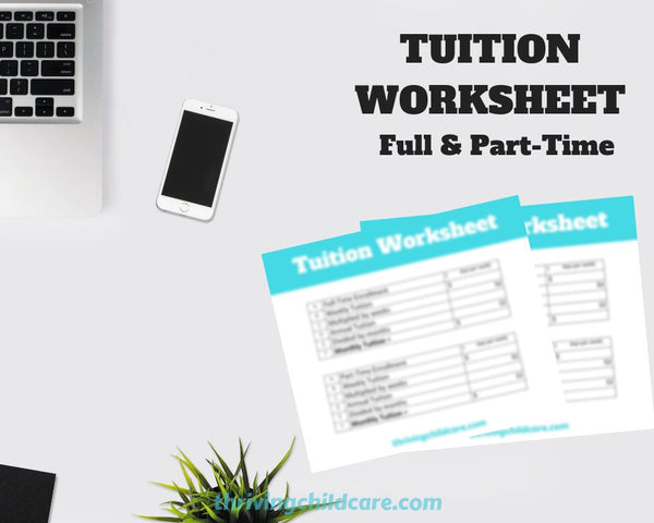 TUITION WORKSHEET - Tuition Worksheet for Childcare Providers and Parents {INSTANT PRINTABLE DOWNLOAD}