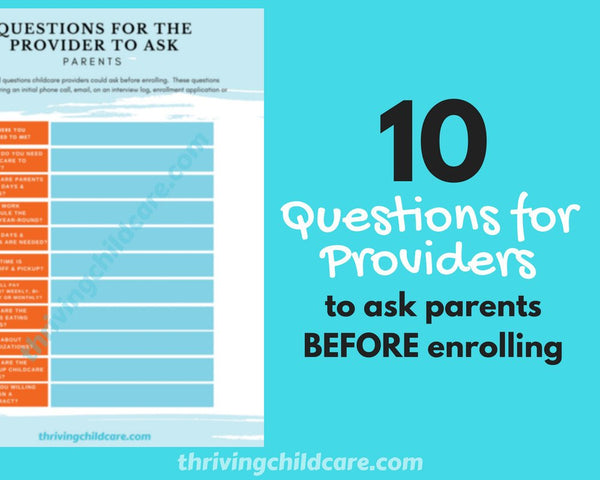 CHECKLIST - Questions for Childcare Providers to Ask Parents {INSTANT PRINTABLE/DOWNLOAD}