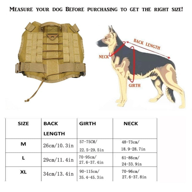 Adjustable Tactical Service Dog Vest with Handle Hunting