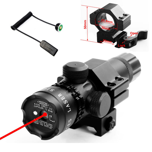 Green Red Dot Laser Sight with QD 45 Degree Offset 25.4mm Ring 20mm Weaver Picatinny Rail Mount Remote Switch for Rifle Scope - AirsoftGrid
