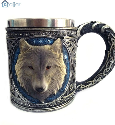 3D Wolf King Head Pattern Mug