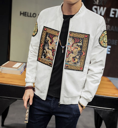 2019 New Fashion Chinese Long Pao Men Slim Fit Casual Windbreaker