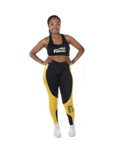 FIEKA Ladies Gym Tights with Black Crossover Waist