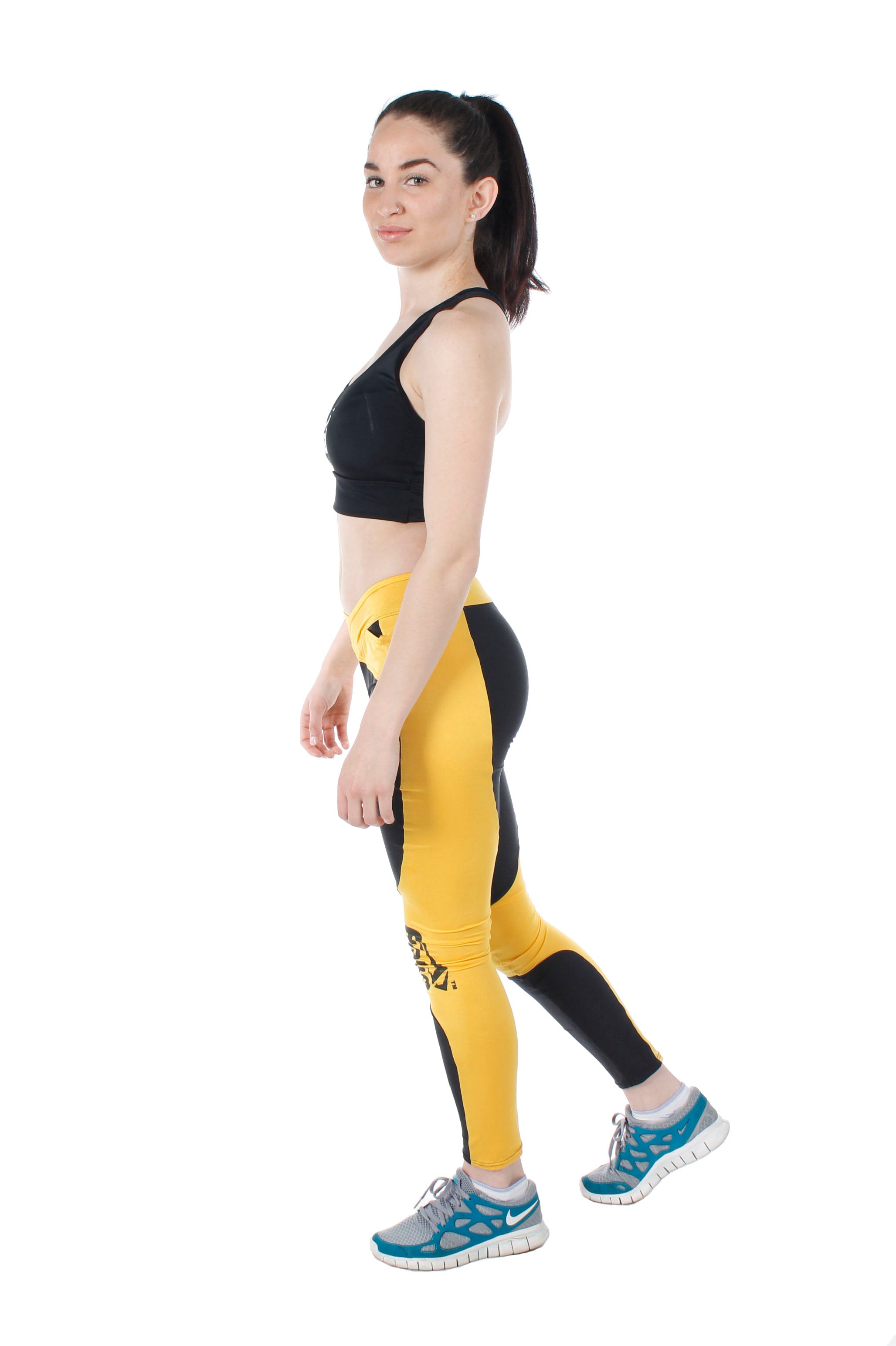 FIEKA Ladies Gym Tights with Yellow Crossover Waist