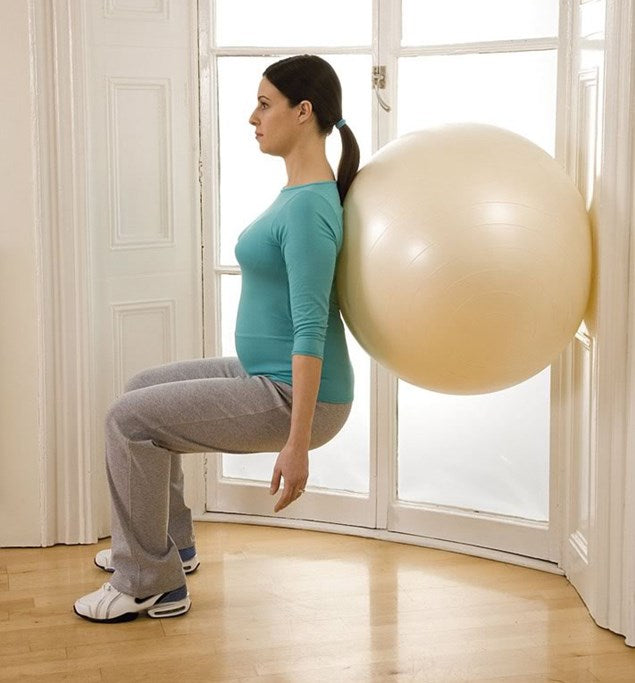 Wall Ball Squat Pregnancy Exercise