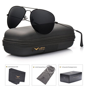 Aviator Sunglasses for Men Polarized LUXEAR Men Sunglasses UV400 Protection with Case Classic Style for Driving Cycling /…