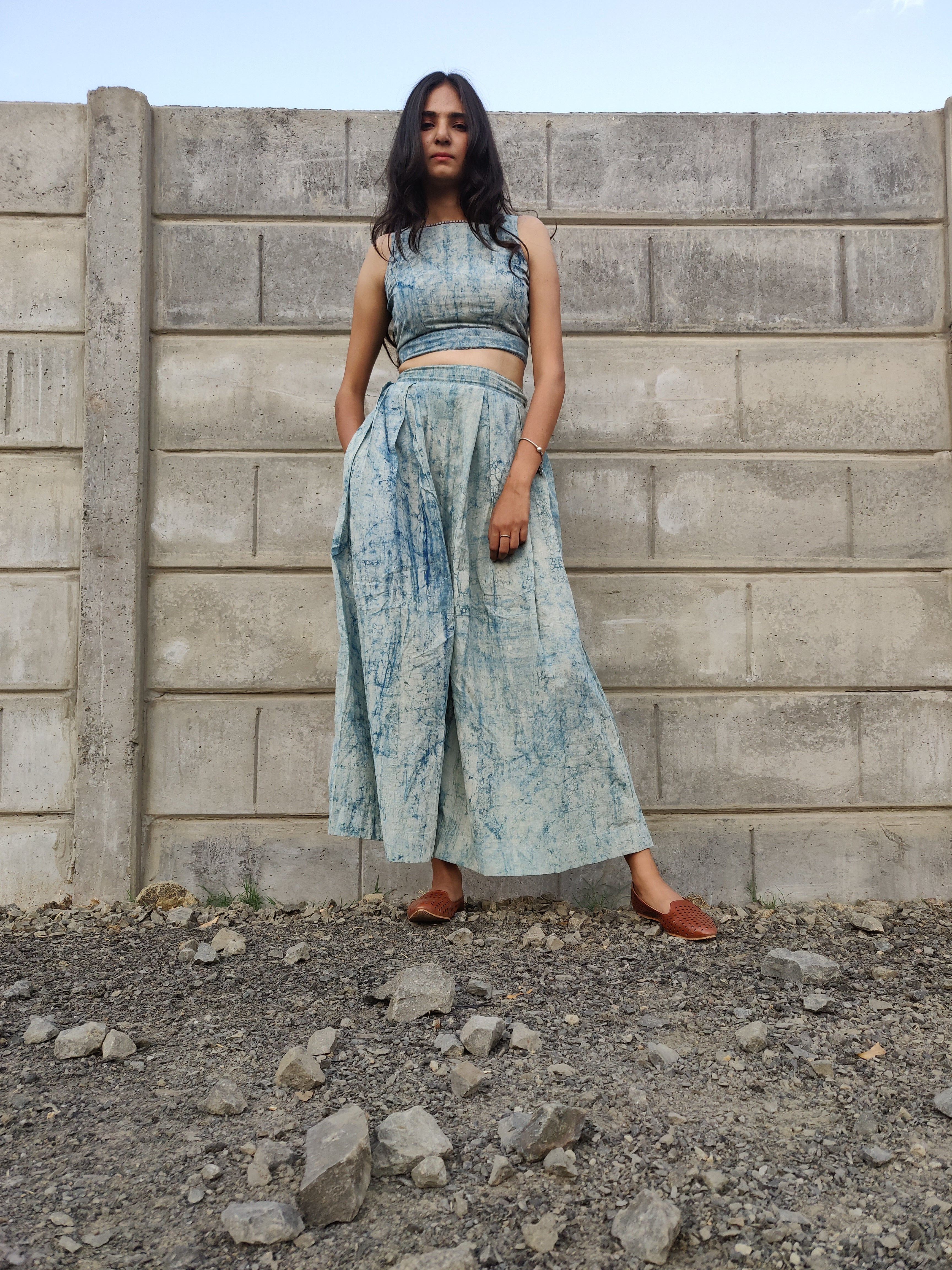 Dabu Crackle Flare Pants