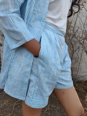 Handblock Printed Stripe Shorts