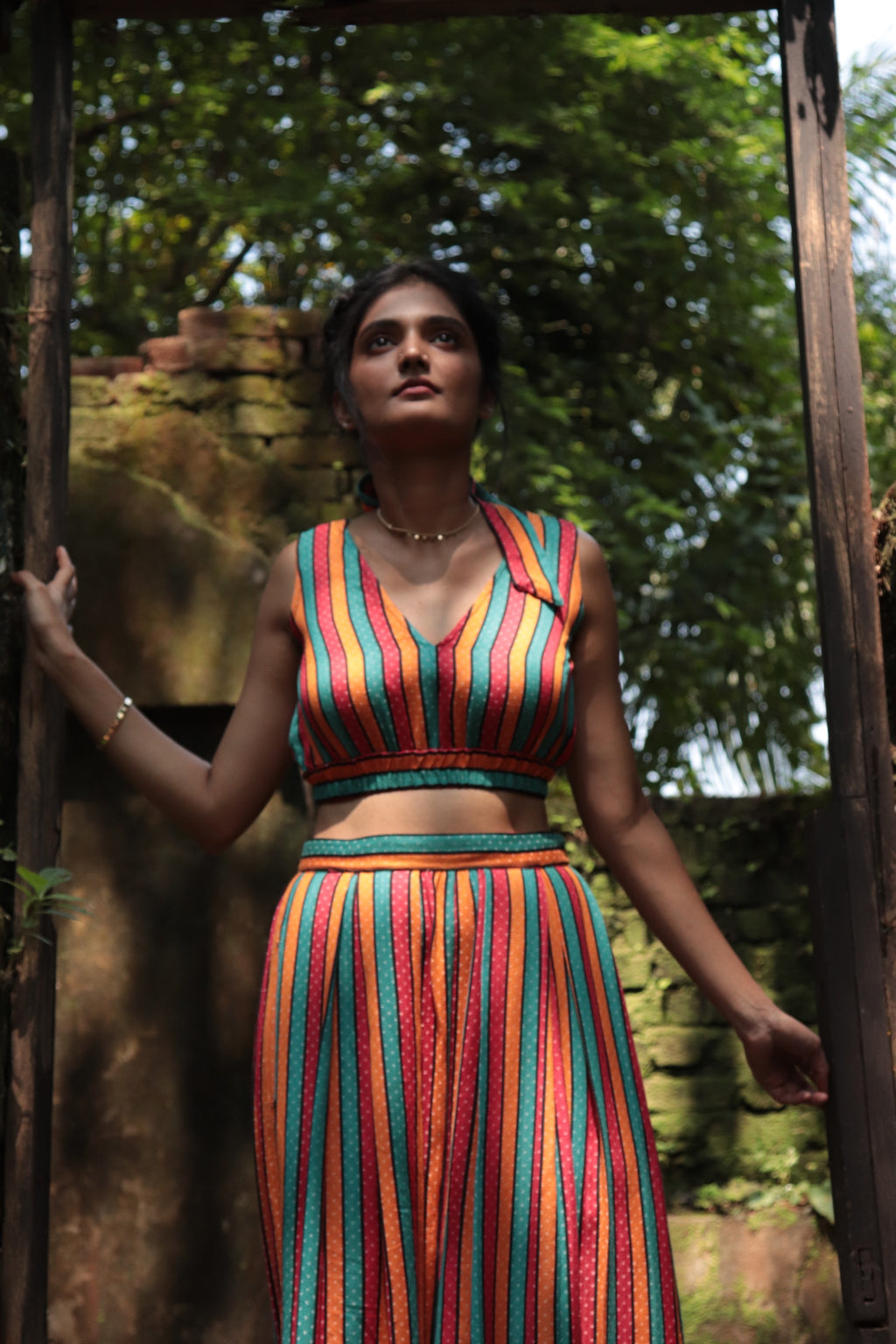 Mashru Stripes Crop Top
