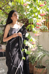 Kantha Sequin Midnight Sari - YESHA SANT