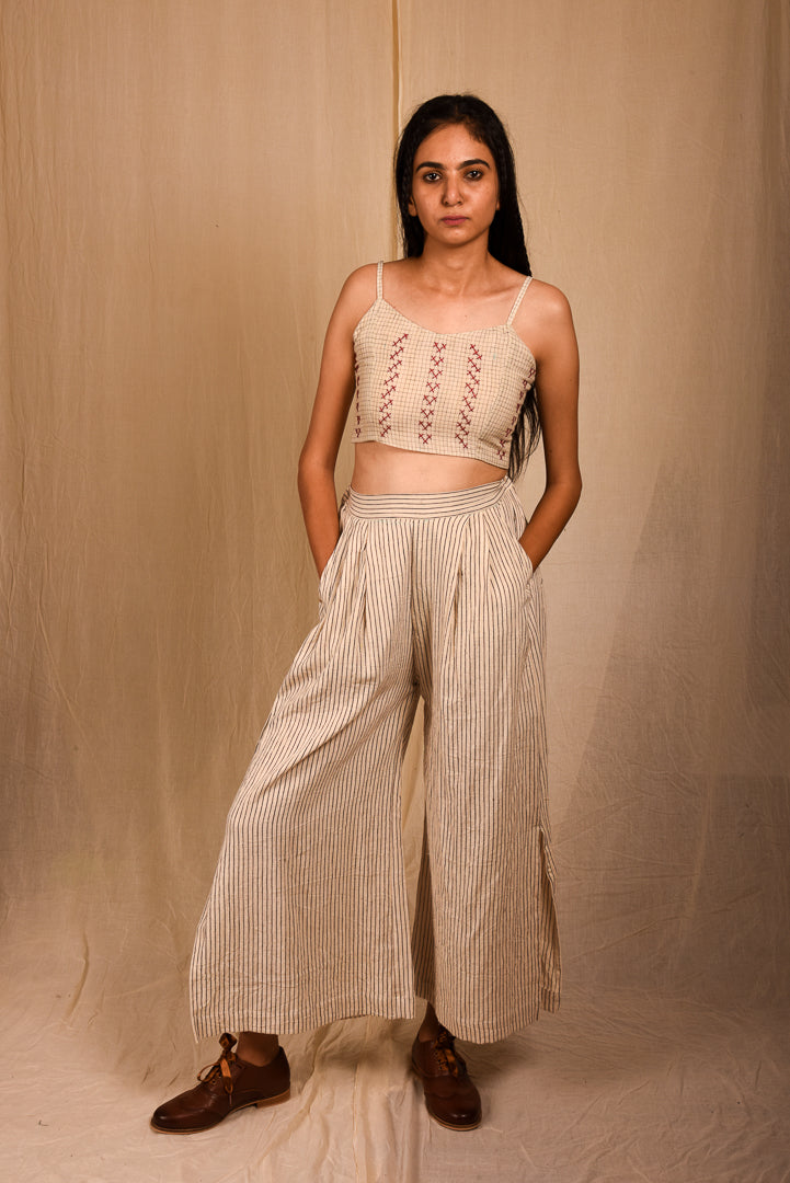 Side Slit Stripes Pants