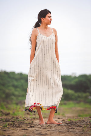 Kutch Embroidered Spaghetti dress - YESHA SANT