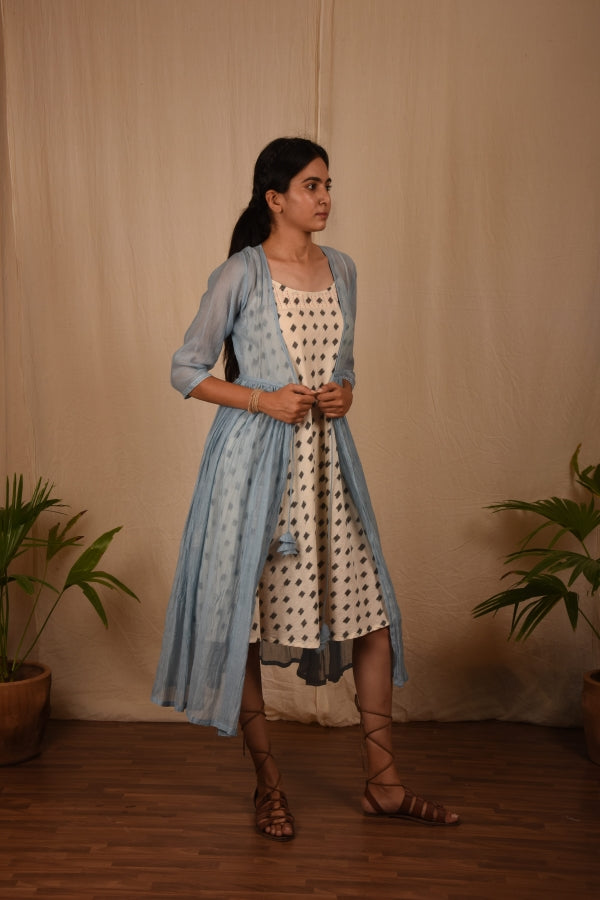 Powder Blue Chanderi Mul Overlay