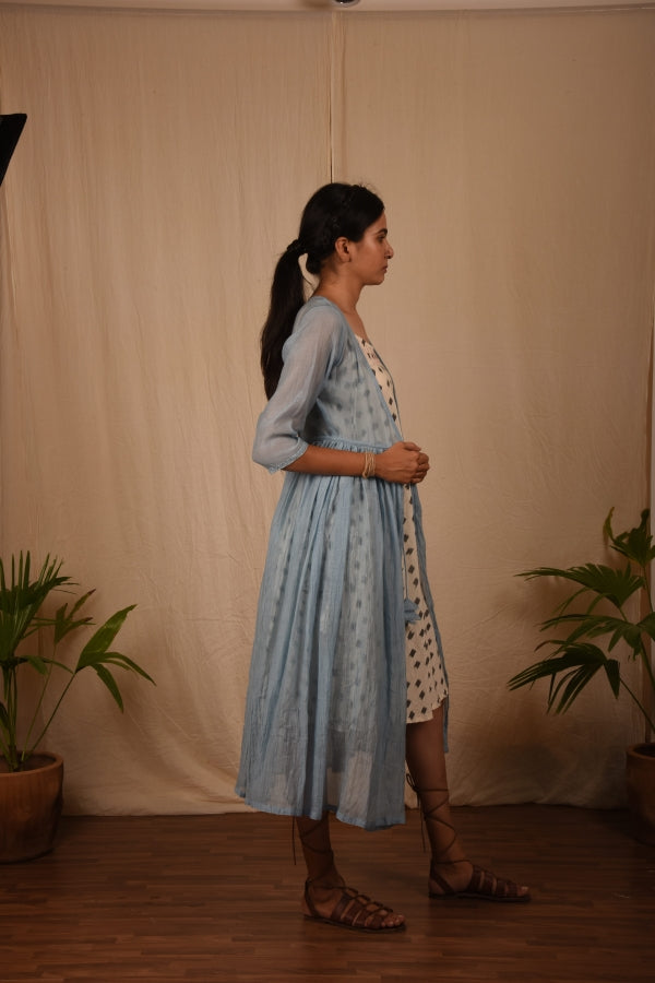 Powder Blue Chanderi Mul Overlay - YESHA SANT