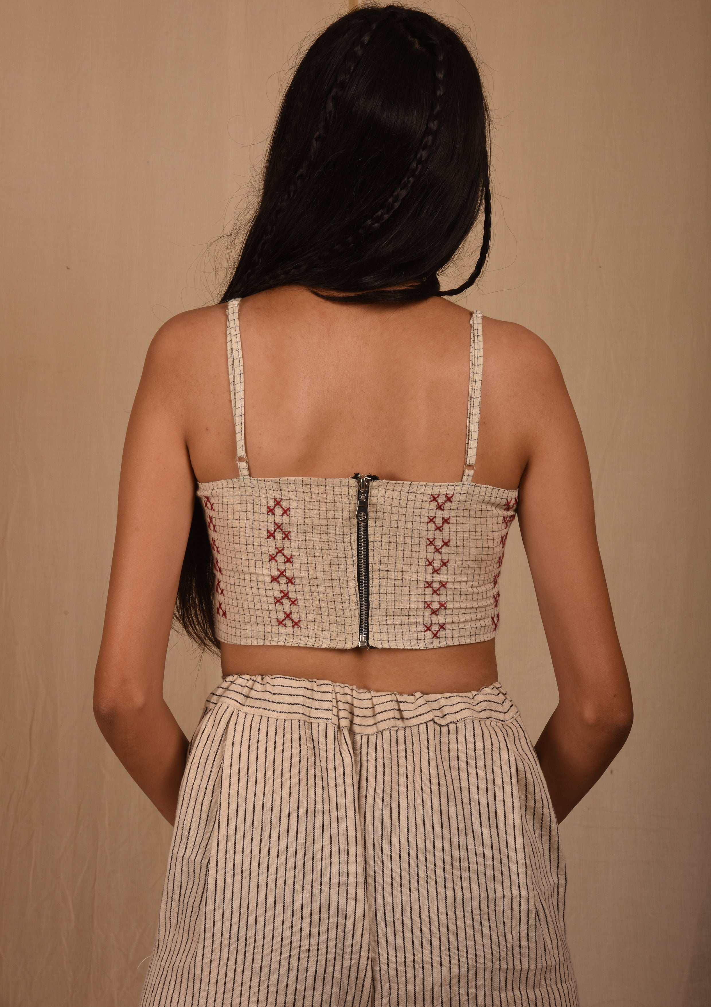 Checks Embroidered Bralette - YESHA SANT
