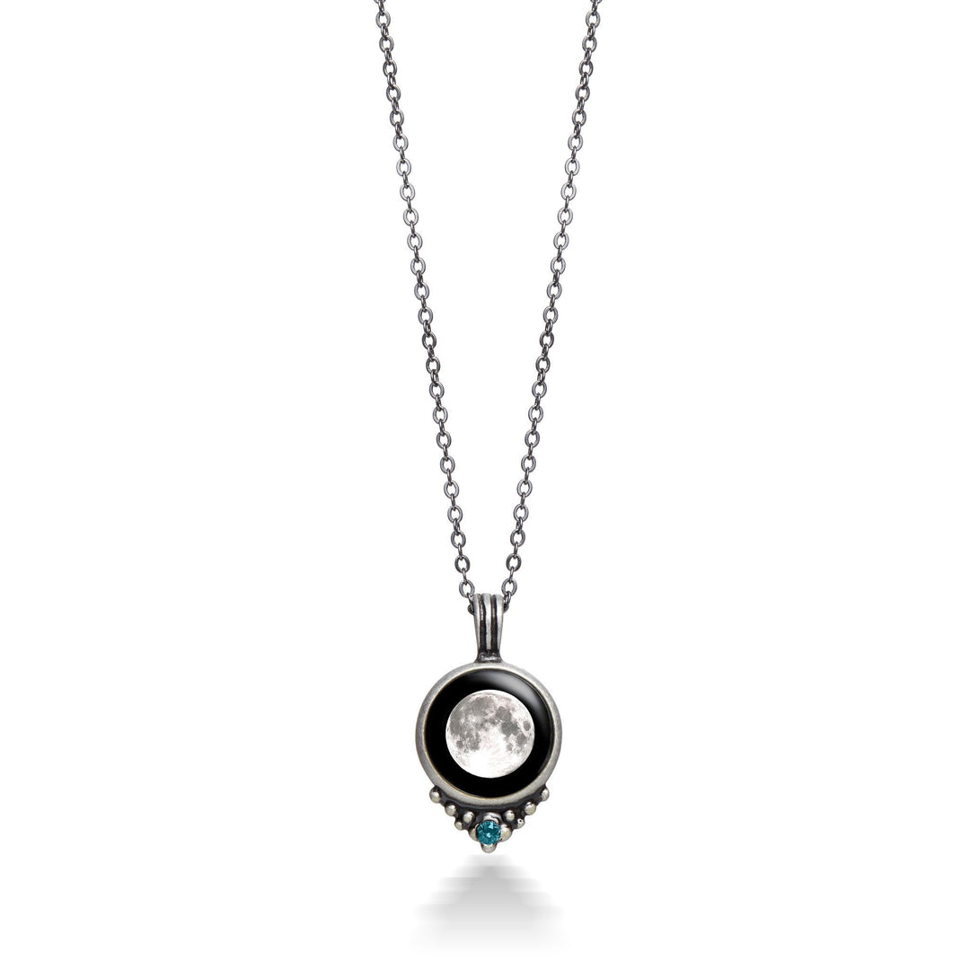 Classic Pewter Birthstone Necklace-6