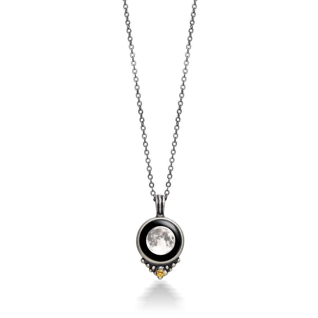 Classic Pewter Birthstone Necklace-5