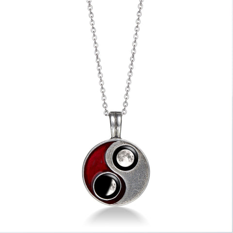 Taijitu Necklace in Red