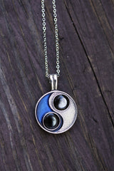 Taijitu Necklace in Blue-2
