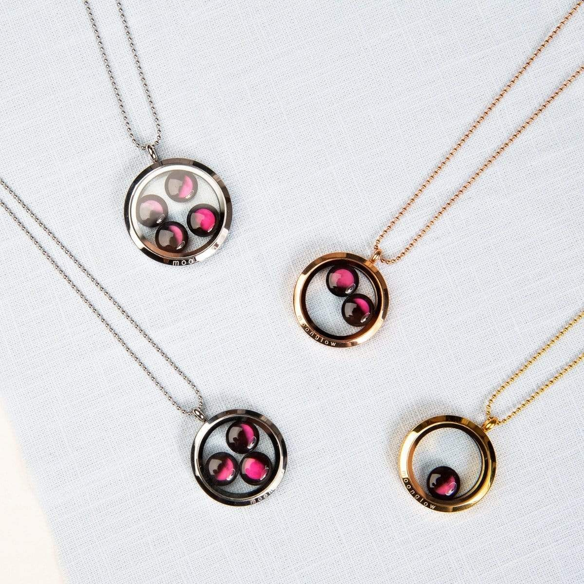 Pink Moon Lovers in the Locket Necklace