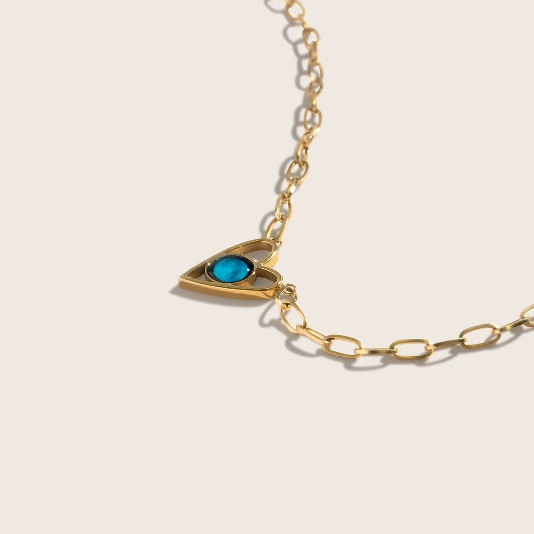 Atlas Link Heart Necklace in Gold