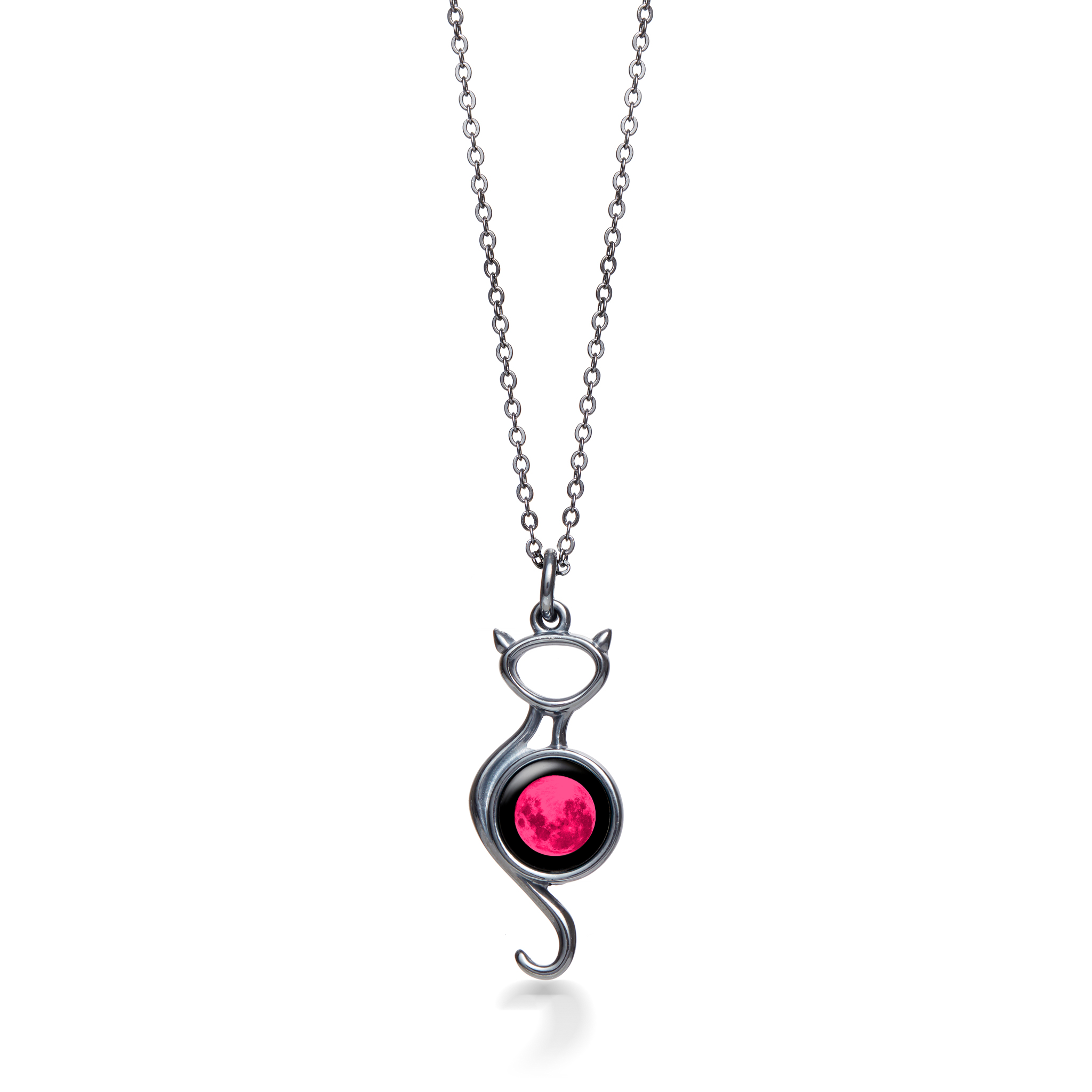 Pink Moon Black Cat on the Moon Necklace