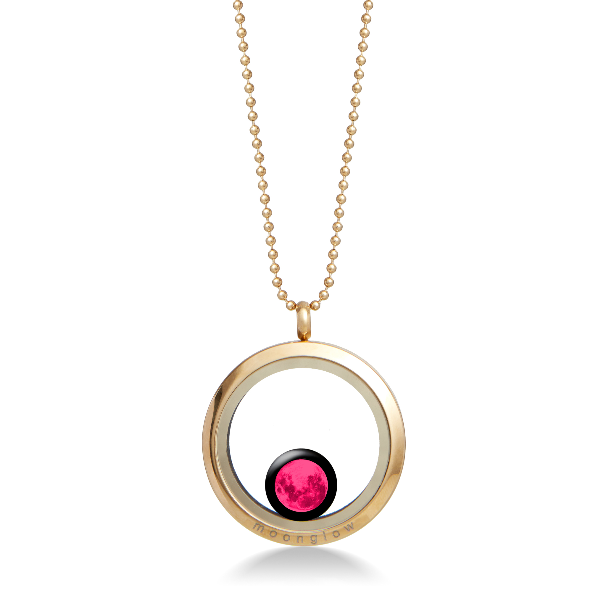 Pink Moon - One Moon Locket in Gold
