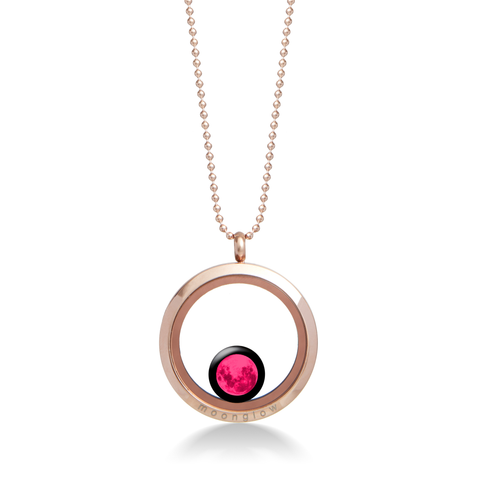 Pink Moon - One Moon Locket in Rose Gold