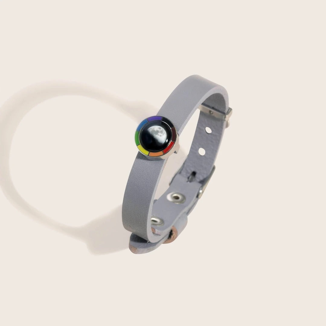 Philautia (Pride) Rainbow Bracelet with Gray Leather Band