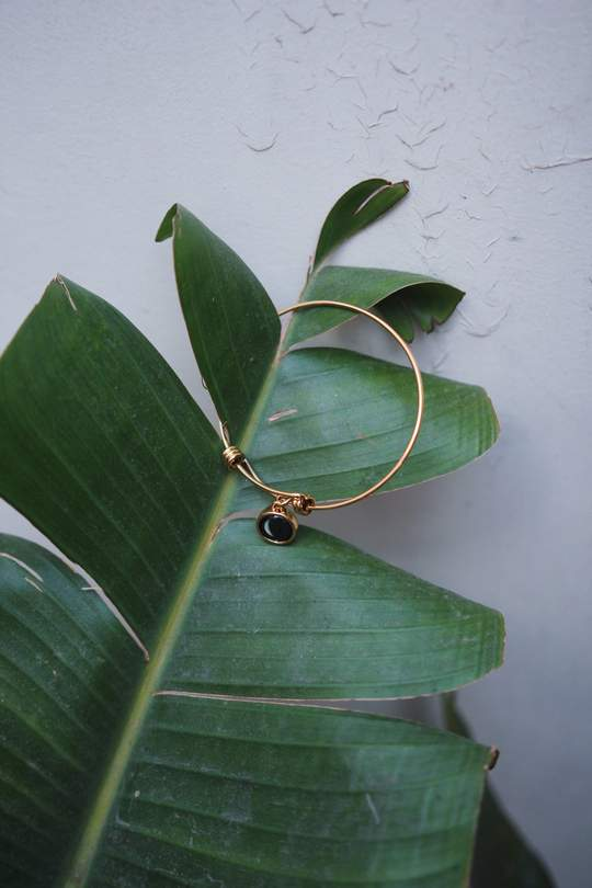 Modern Moon Bangle + Mini Simplicity in Gold Set-4