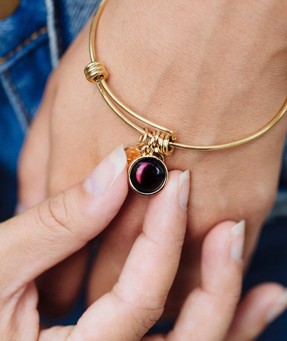 Pink Moon - Birthstone Bangle Bracelet in Gold