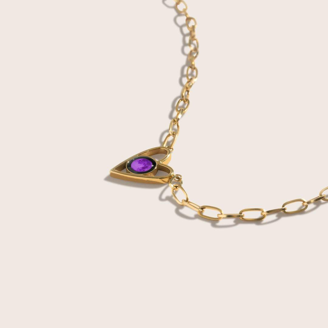 Pink Moon Atlas Link Heart Necklace in Gold
