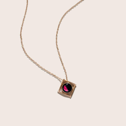 Pink Moon Lunula Tetrad Necklace in Rose Gold