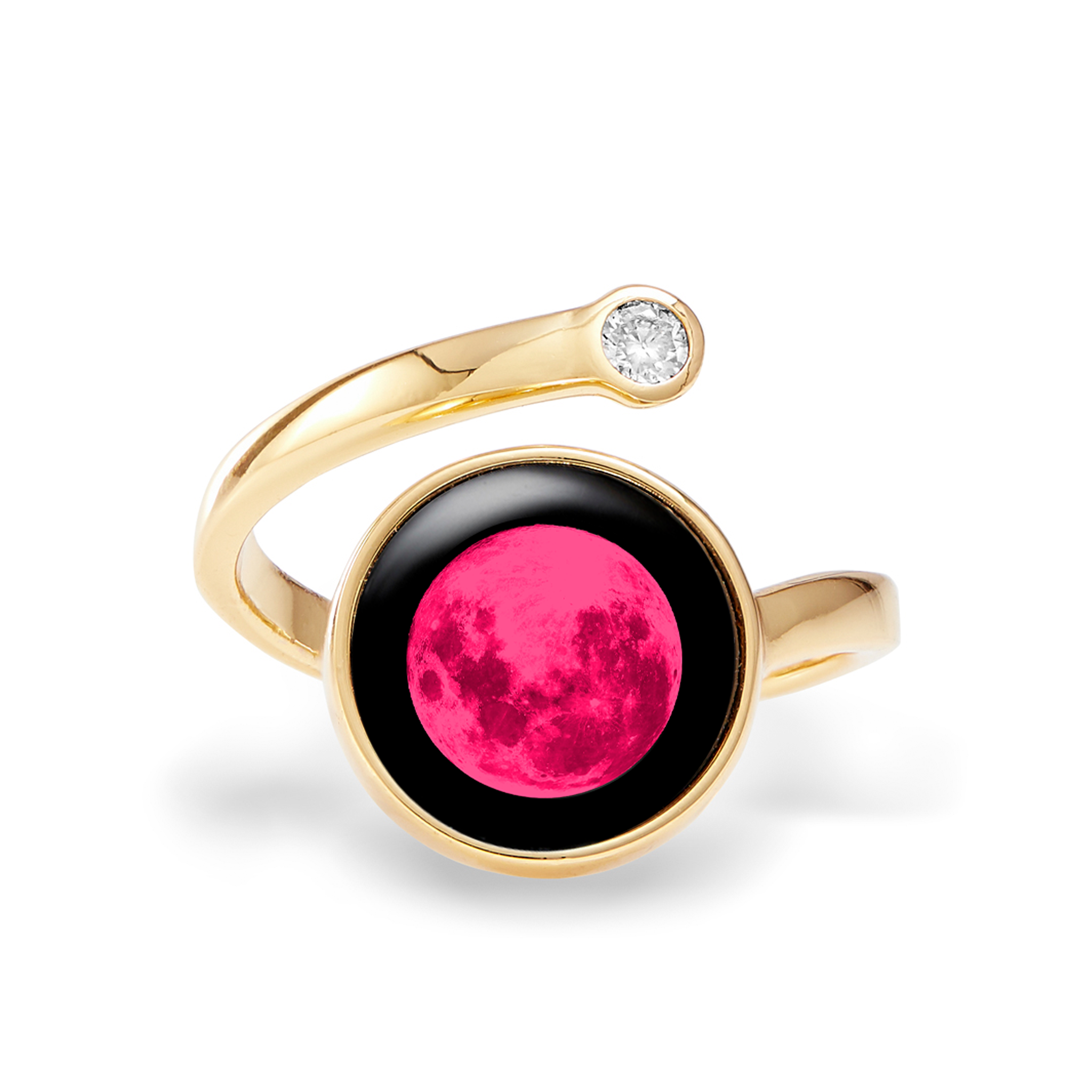 Pink Moon Cosmic Spiral Ring in Gold