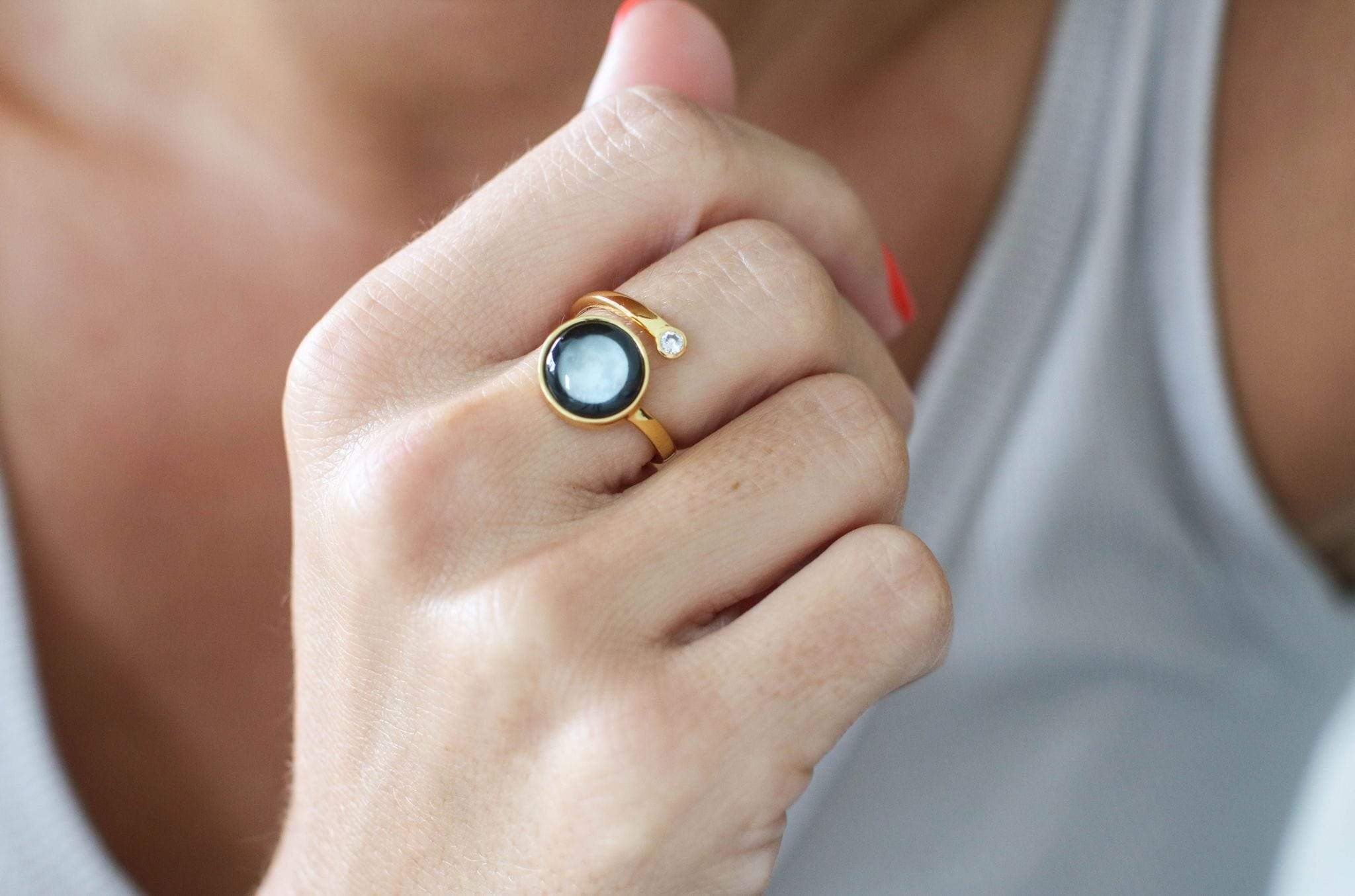 Cosmic Spiral Ring in Gold