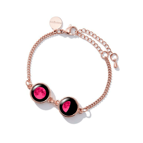 Pink Moon Double Moon Pallene Bracelet in Rose Gold