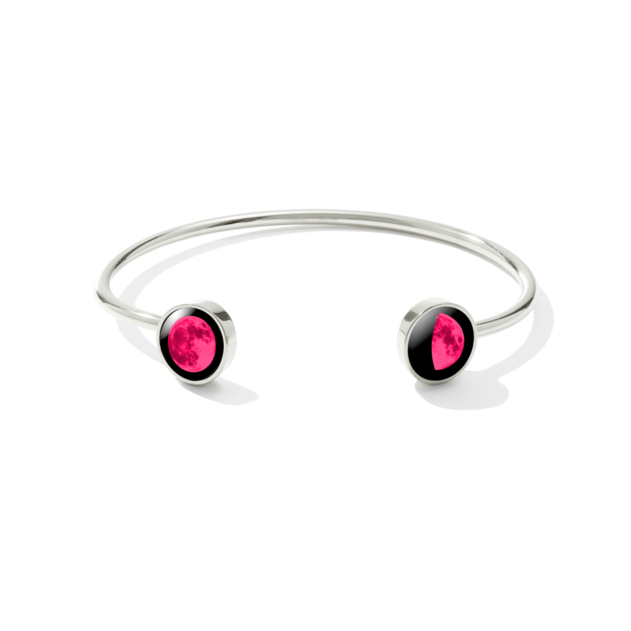 Pink Moon Lunar Dyad Cuff in Stainless Steel