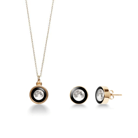Mini Gold Simplicity Necklace Bundle + Moonshine Stud Earrings in Gold