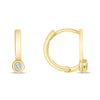 Diamond Petite Huggie Hoop Earrings 14k Yellow Gold