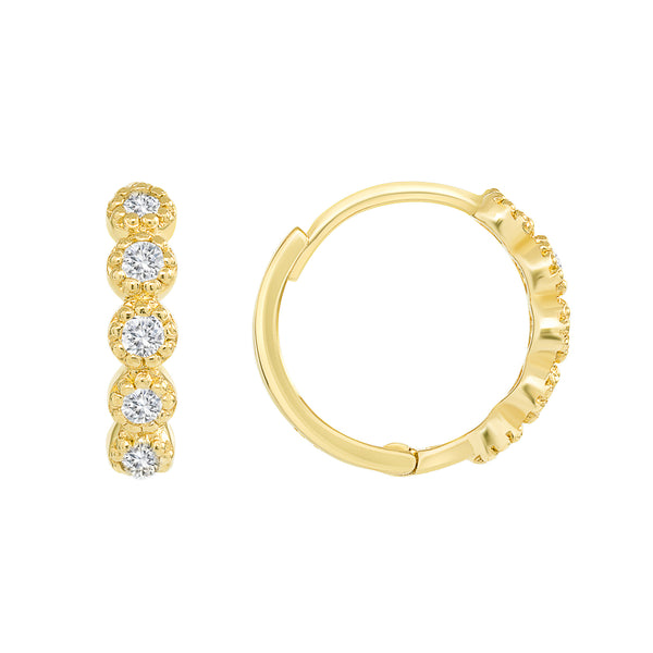 Diamond Petite Huggie Gold Earrings