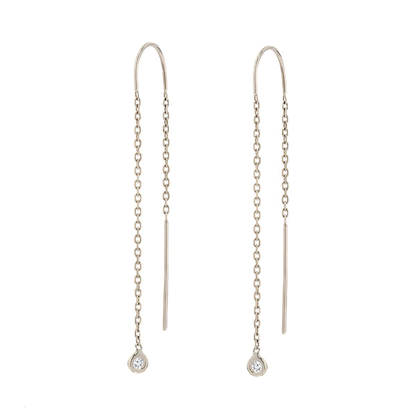 TousiAttar Bezel Set Diamond Drop Earrings 14 k White Gold