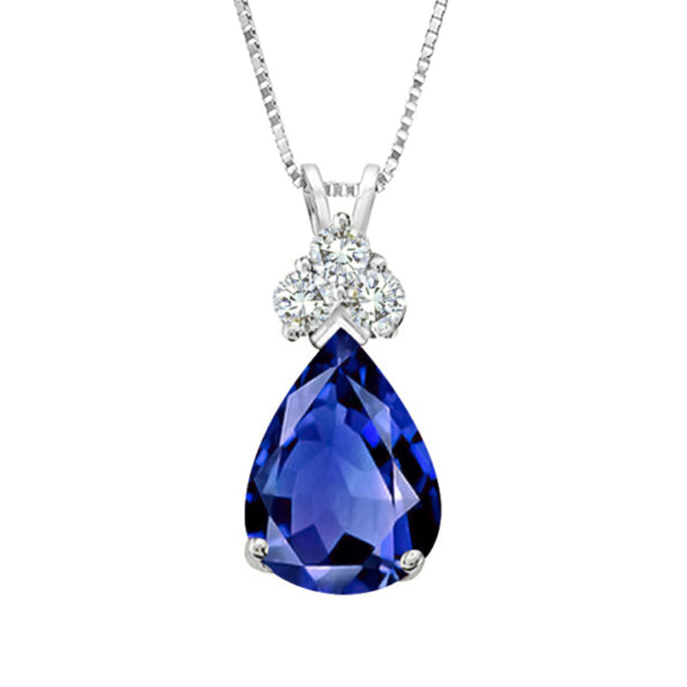 Pear Shaped Sapphire & Diamond Pendant Necklace Gold