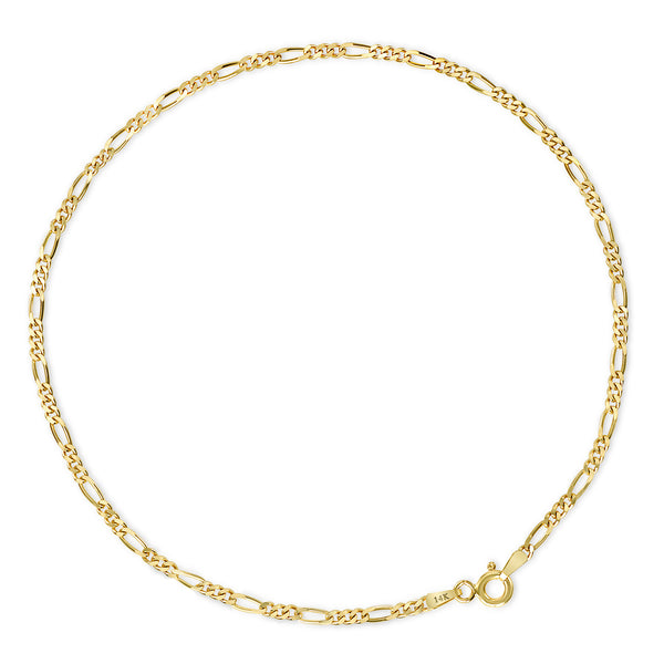 Anklet Figaro Link Chain 14k Yellow Gold Adjustable 5'' to 10 ''