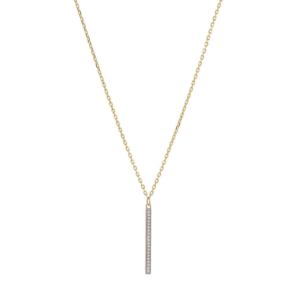 Diamond Necklace Bar 0.10 ct Bar Drop Gold Pendant