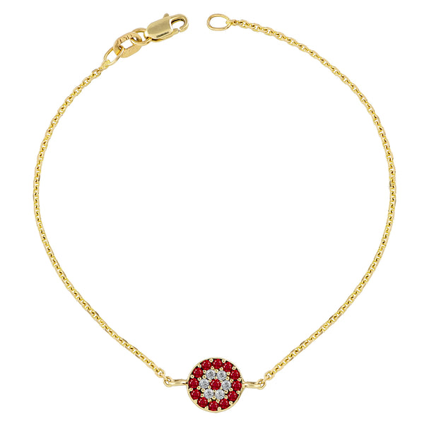 Ruby and White Diamond Bracelet Gold