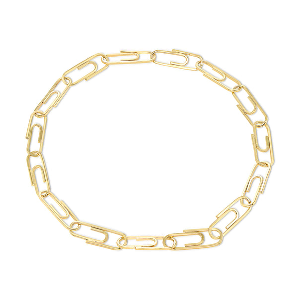 Paperclip Solid Gold Link Heavy Bracelet
