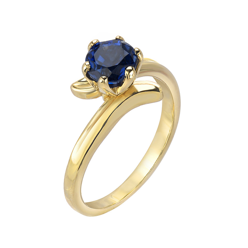 solitaire Sapphire Gold Ring