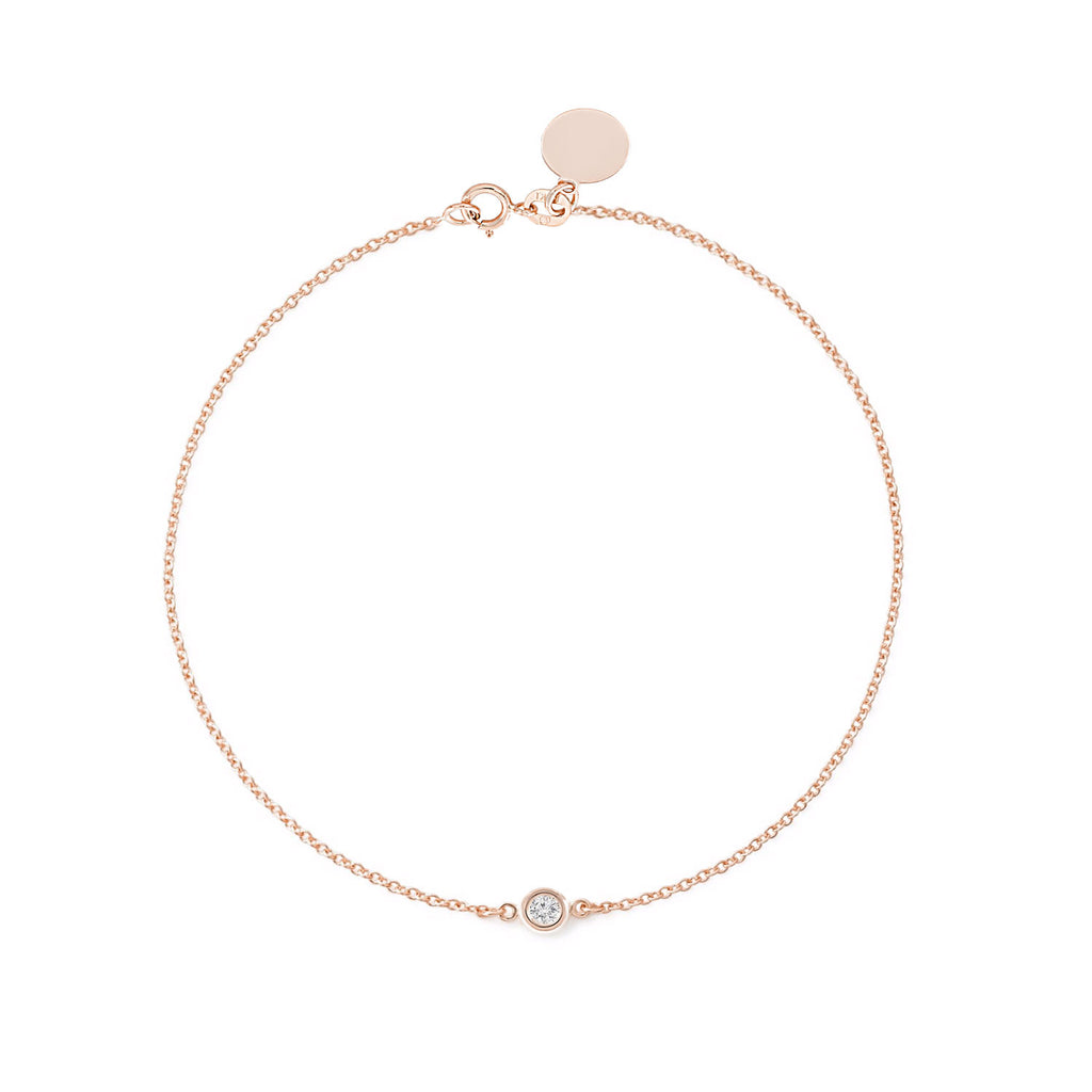 TousiAttar Solitaire Diamond Bracelet 14k Rose Gold