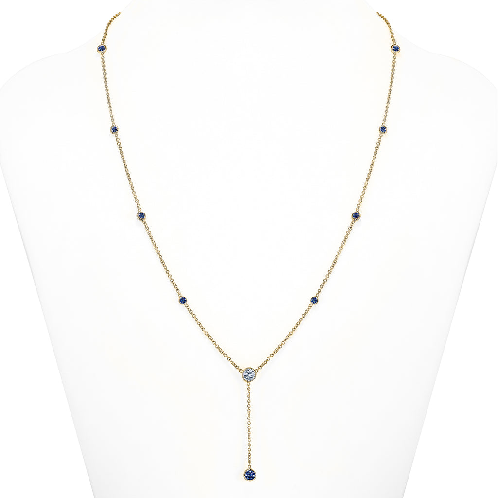 Y Necklace Sapphire and Diamond Gold
