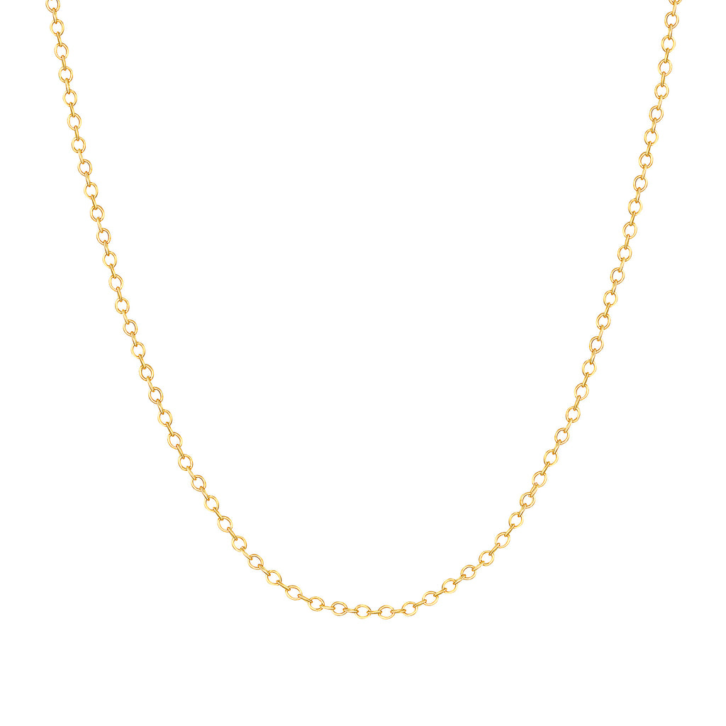 18k Solid Yellow Gold Round Cable Chain Link